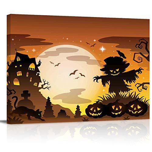 WallArtCanvasPrints Poster for HomeDecor Horrible Halloween Monster Oil Painting Pictures Artwork for Living Room Bedroom Hall Hotel -