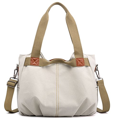 Ladies Handle Z Handbag Women's Top Casual joyee Shoulder Hobo Beige Vintage Shopper Daily Canvas Tote White Purse vvqESw