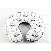 Grey and Brown Antlers,  Little Man  Nursing Pillow Cover with Charcoal Minky Backing - Boppy Pillow Cover