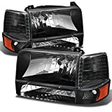 92 f150 headlight assembly - Ford Bronco F150 F250 F350 OE Replacement Black Headlights Corner Signal Left/Right Lamps Set