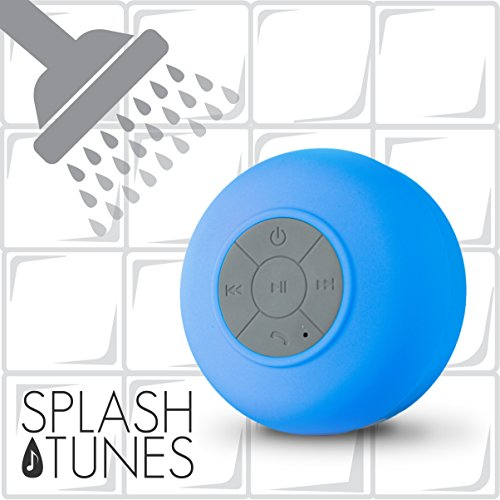 Splash Tunes Shower Speaker – Waterproof Bluetooth Hands-Free Shower Speaker with Built-In Mic and Suction Cup – Blue