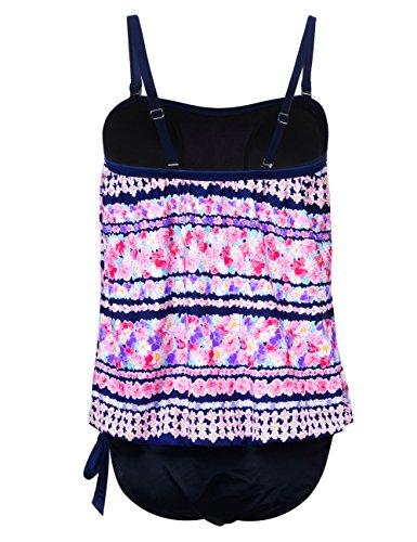 Hilor Women's Bandeau Blouson Tie Tankini Set Two Piece Swimsuit 14 Floral