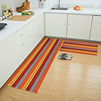 ANJUREN Hallway Runner Area Rugs Multifunction Durable Cotton Polyester Reversible Washable Plaid Rug Carpet Mat Pad Kitchen Bathroom Door Bedroom pets Sofa Bedside Rug Set (23.6x51.2, Red 7)