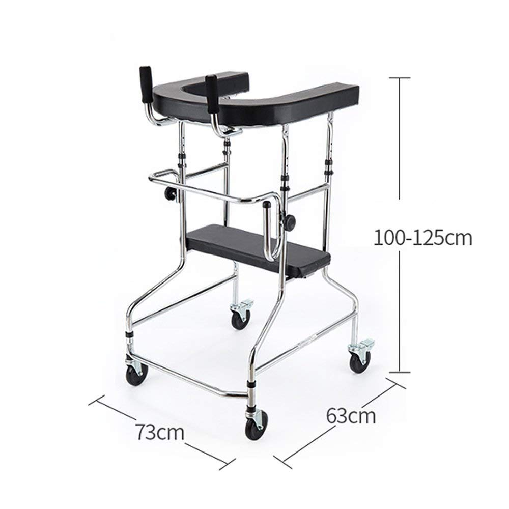 Aluminum Alloy Folding Walker with Armrest Pad and Wheel Limited Movement Aid for Elderly Disabled Persons with Standard Walker Auxiliary Walking Safety Walker by YL WALKER (Image #2)