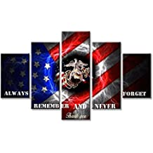 USA Flags Always Remember and Never Forget Wall Art US Home Decor for Living Room Pictures American 5 Panel Large HD Printed Painting Framed Ready to Hang