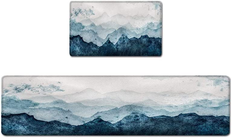 """QIYI Floor Comfort Mat 1 Piece Kitchen Rug PVC Leather Waterproof Oil Proof Runner Rugs Non Skid Laundry Standing Mats Anti Fatigue Foam Cushioned Doormat 17"""" W x 47"""" L - Watercolor Mountain"""