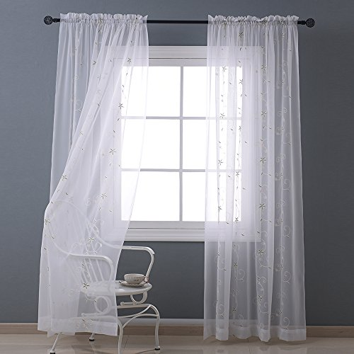 Nicetown Spring Blooms Voile – Floral Embroidered Sheer Window Curtains / Drapes (One Pair, W60L84, White)
