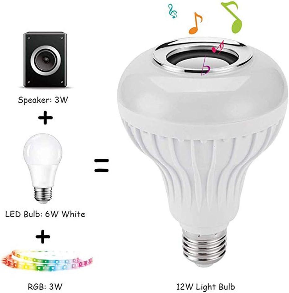 Ymiko LED-Gl/ühbirne Bluetooth-Lautsprecher E27 12W RGB Wechsellampe Drahtlose Musik Wiedergabe von Lampe mit 24 Tasten Fernbedienung