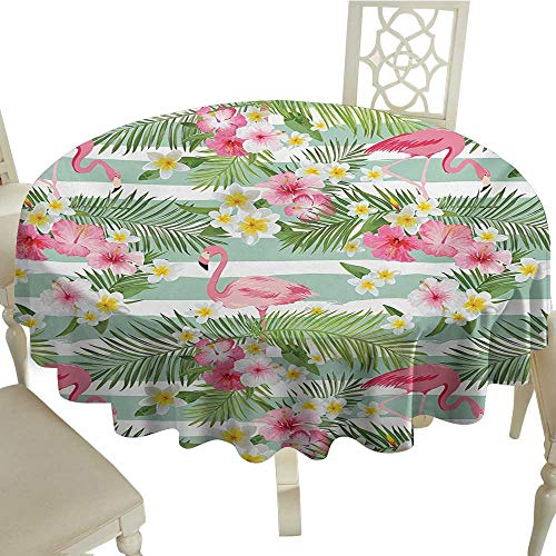 cobeDecor Flow Spillproof Fabric Tablecloth Flamingo Flamingos with Exotic Hawaiian Leaves Flowers on Striped Vintage Background D70 Green Pink White