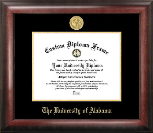 University of Alabama, Crimson Tide Gold Embossed Diploma Frame by Campus Images