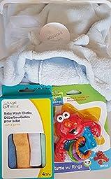 Baby Blanket Gift Set Blue Hooded Plush w/Baby Wash Cloths & Elmo Rattle (Bundle 3)