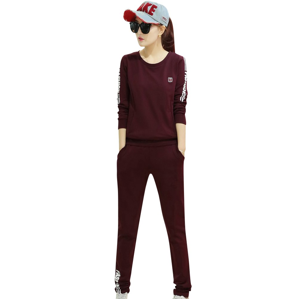 TLZC Women's Outdoor Sport Long Sleeve Shirts and Sweatpants 2-Piece Sweatsuits