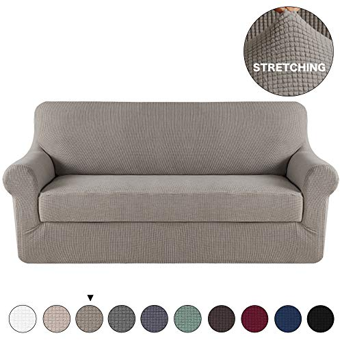 Turquoize 2 Piece Couch Covers High Stretch Sofa Cover Protector Couch Soft with Elastic Bottom Knitted Jacquard, High Stretch Form Fit Slip Resistant Furniture Protector Sofa 3 Seater(Sofa, Taupe)
