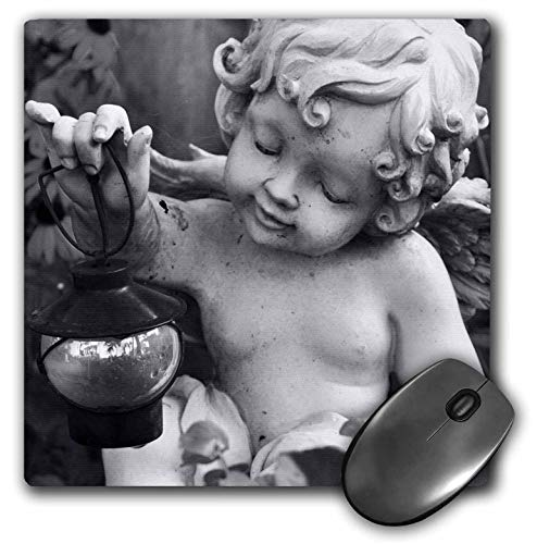 3dRose Stamp City - sculptures - Photograph of black and white angel statue holding lantern. - MousePad (mp_289736_1) (Black Lantern Statue With)