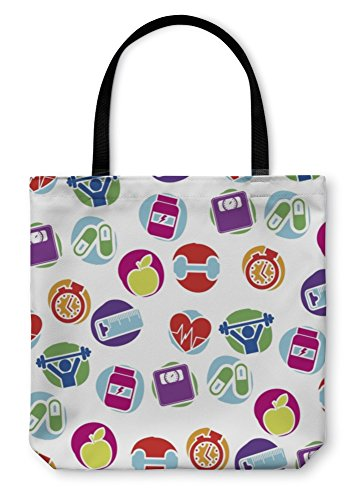 Heartbeat Cholesterol Support - Gear New Shoulder Tote Hand Bag, Fitness Pattern, 18x18, 822216GN