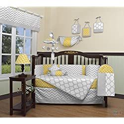 GEENNY Boutique Baby Unisex 13 Piece Crib Bedding Set, Yellow/Gray Chevron