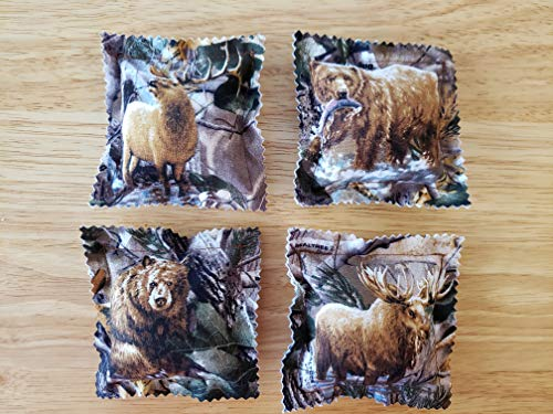 Catnip Ravioli Pillow Toys, Made From Realtree Fabric, Wildlife, Camouflage Camo, Bear, Moose, Elk, Set of 4 Cat, Cats, Kittens