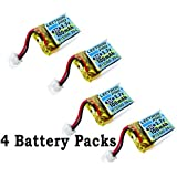 (Ship from USA) 4 Packs Lectron Pro 3.7 volt 100mAh 20C Lipo for Estes Proto X Nano Quadcopter