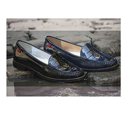 Echtes Lackleder Damen Made In Brasilien East Village Klassische Penny Loafer Marc Joseph NY Mode Schuhe Navy Lackleder