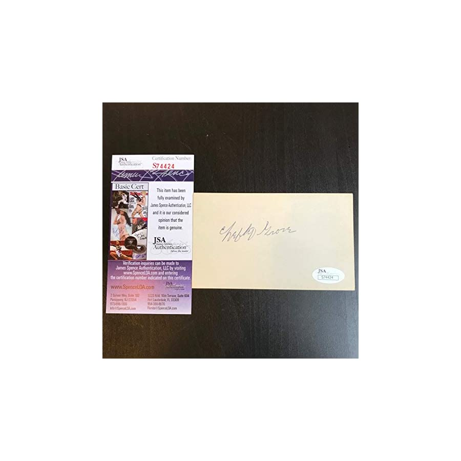 Lefty Grove Signed Autographed Index Card Hall Of Fame With JSA COA