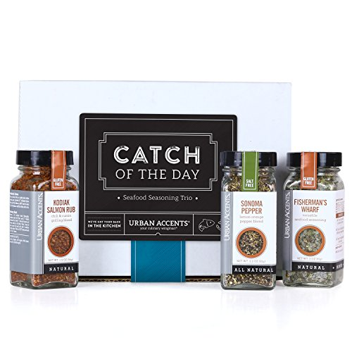 Urban Accents CATCH OF THE DAY, Seafood Spice Rub Seasoning Gift Set (Set of 3) - Ultimate Fisherman Seasoning Set for Seafood, Meat and even Veggies- The Perfect Gift for ()