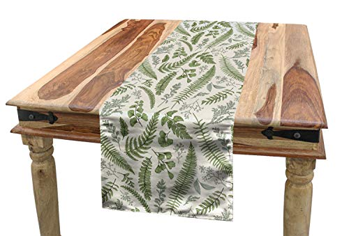 Maidenhair Shell - Lunarable Vintage Table Runner, Floral Pattern with Boxwood Seeded Eucalyptus Fern Maidenhair, Dining Room Kitchen Rectangular Runner, 16 W X 90 L Inches, Reseda Green Sage Green Eggshell