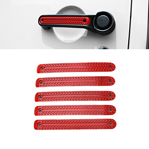 Red Door Handle - Car Door Grab Handles Inserts Cover Decorative Trim for Jeep Wrangler 2007-2017(4 Door-Red)