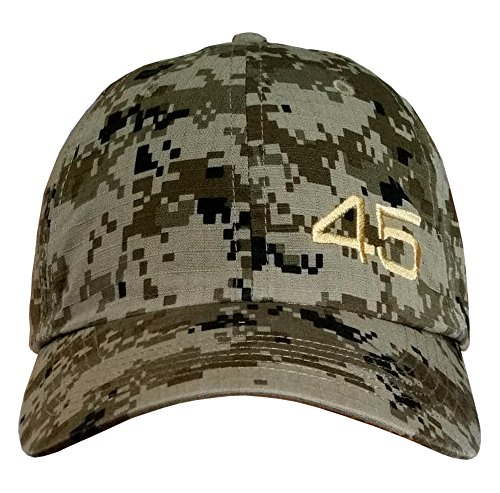 - Treefrogg Apparel 45 Trump Hat - CAMO Unstructured Cap (CAMO/Gold Small Off-Center 45)