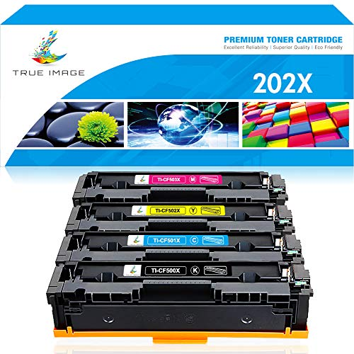 True Image Compatible Toner Cartridge Replacement for HP 202X 202A CF500X CF501X CF502X CF503X M281 Color Laserjet Pro M281fdw M281cdw M254dw M254 M254nw M281fdn (Black Cyan Yellow Magenta