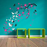 Removable Self-Adhesive Wall Stickers Pink Blossom Flower Butterflies Mirror Wall Art Decals Vinyl Home Decoration DIY Living Bedroom Décor Wallpaper Kids Room Gift 180x130 cm, Multi-colour
