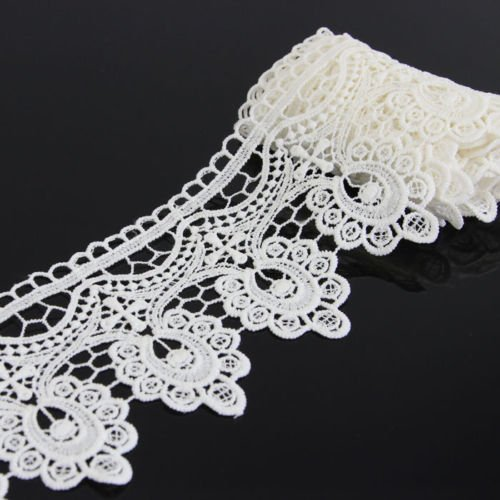 - Yontree Floral Venise Lace Applique Sewing Trim Bridal Wedding Applique White 2 Yards