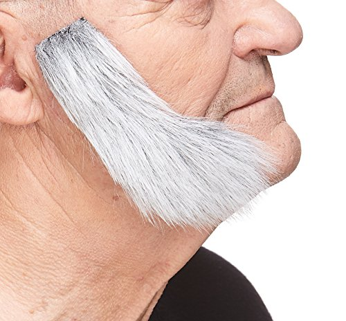 (Mustaches Self Adhesive, Novelty, Fake Mutton Chops Sideburns, False Facial Hair, Costume Accessory for Adults, Gray with White)