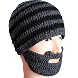 Free Fisher Unisex Knit Beanie Stubble Beard Style1 Grey