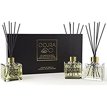 3 Reed Diffusers Aromatherapy Essenial Oil Gift Set; Thai Jasmine Bamboo, Laos White Tea & Ginger, French Provence Lavender; premium black reeds, each decor bottle is 2 oz, 6oz total (lasts 5+ months)