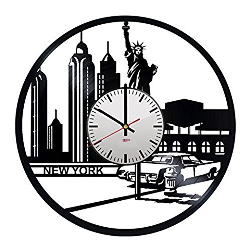 New York HANDMADE Vinyl Record Wall Clock - Get unique living room wall decor - Gift ideas for parents, men and women – Skyline Unique Modern Art