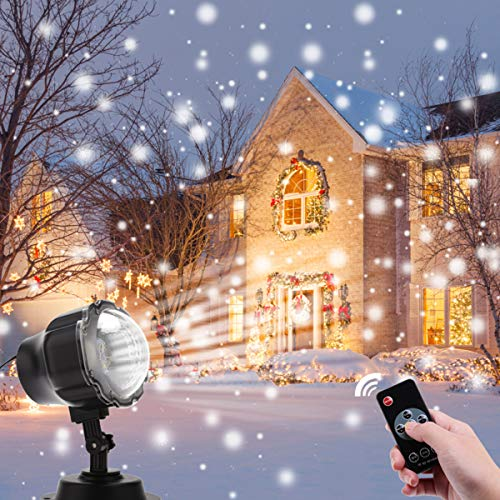 Christmas Projector Lights Outdoor, ALOVECO LED Snowfall Landscape Projector Light with Wireless Remote for Christmas, Halloween, Holiday, Outdoor, Party Decorations
