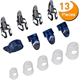 Guitar Starter Kit Includes 8 Pieces Guitar Thumb & Finger Picks (Metal and Blue Celluloid), 5 Pieces Clear Guitar Finger Protectors