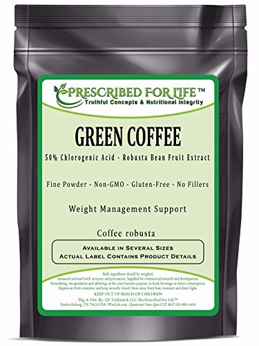 Green Coffee - 50% Chlorogenic Acid - Natural Robusta Bean Fruit Extract Powder (Coffea robusta), 25 lb by Prescribed For Life
