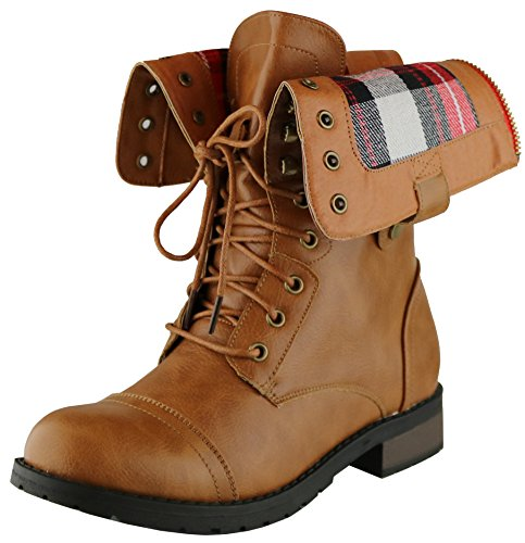 Cambridge Select Women's Military Combat Foldable Plaid Cuff Mid Calf Ankle Boot (9 B(M) US, (Plaid Womens Boots)