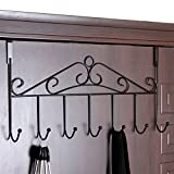 Over the Door Hooks,Stainless Steel Closet Hanger Rack,7 Hooks Black Metal Hanging Storage Holder Organizer for Coats,Hats,Robes,Purses,Scarves,Clothes,Jackets,Belt,Towel,Home Office Cabinet Gift Use