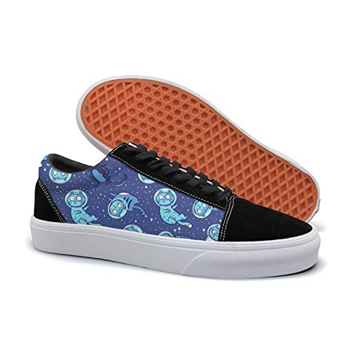 PDAQS Galaxy Cat Funny Kitty Blue Men Canvas Shoes Oldskoo Skateboard Shoes Low Top