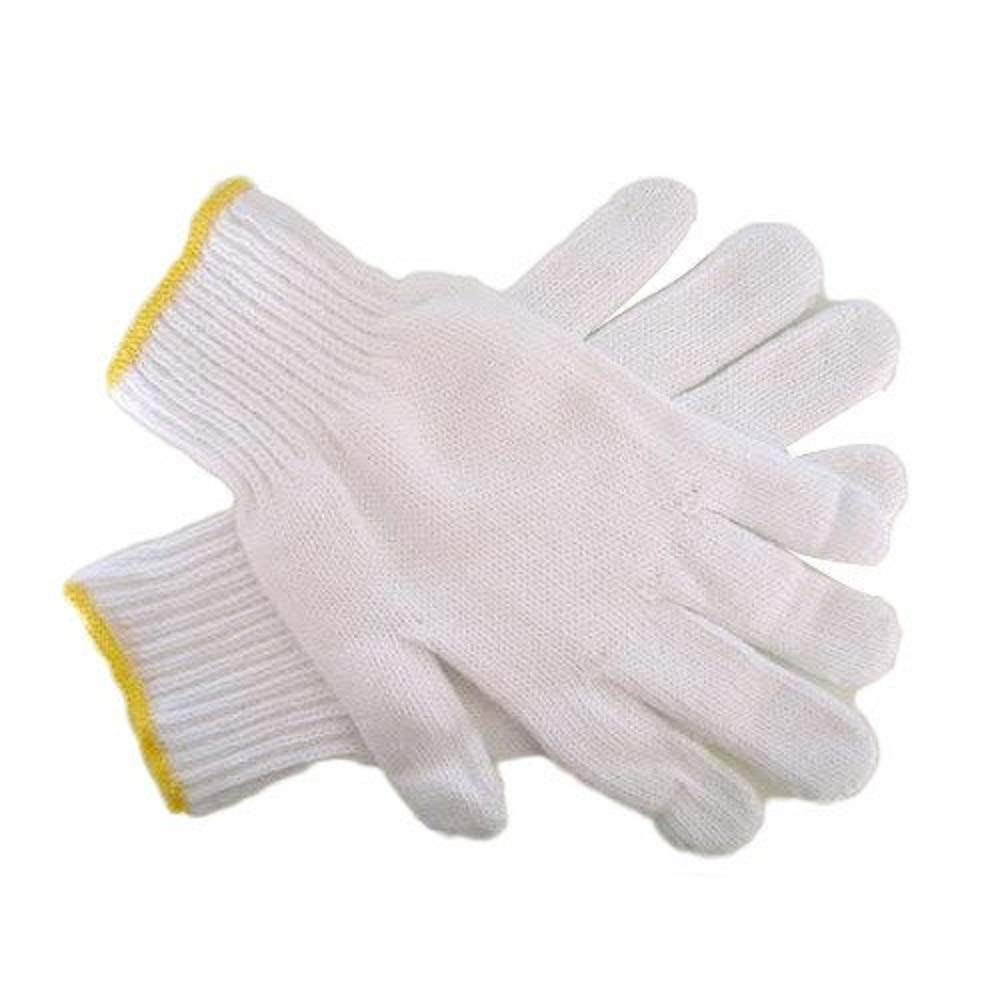 Safety Grip Protection Knit Cotton Gloves For Light To Medium Duty Work White-One Size Large (300)