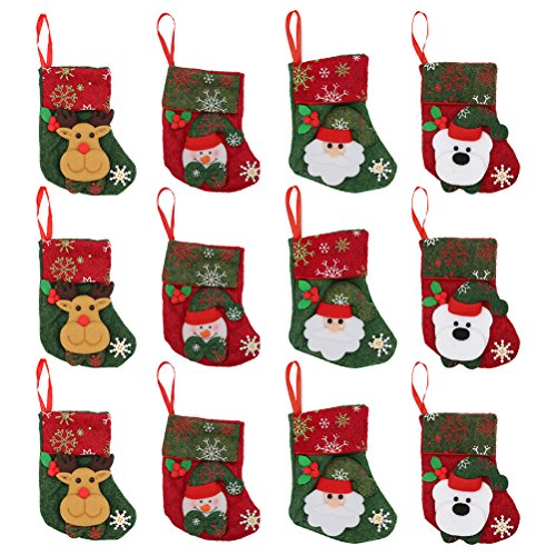 Christmas Stockings 12pcs Gift Treat Bag, for Favors and Decorating Stockings Christmas Decoration