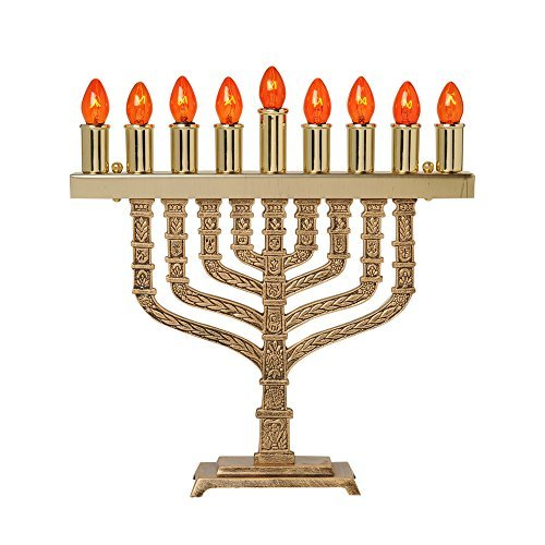 Israel Giftware Designs Electric Brass Menorah Comes with a set of bulbs-EM-665