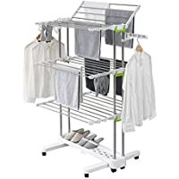 Premium Large Foldable Rolling Clothes Laundry Drying Rack Stainless Steel Heavy Duty Rod