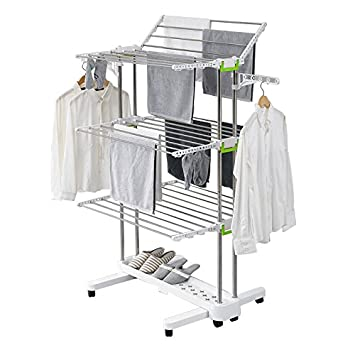 Premium Large Foldable Rolling Clothes Laundry Drying Rack Stainless