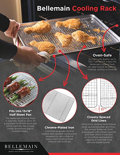 Bellemain Cooling Rack - Baking Rack, Chef Quality 12 inch x 17 inch - Tight-Grid Design, Oven Safe, Fits Half Sheet Cookie Pan by Bellemain (Image #1)