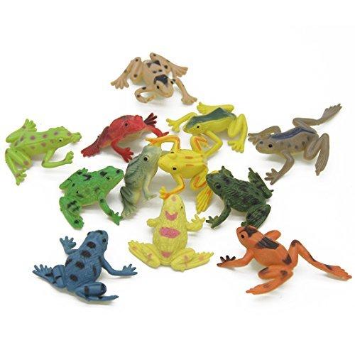 Kvvdi 12 Pcs Small Colorful Plastic Poison Dart Frogs + 8 Pcs Turtles for Kids
