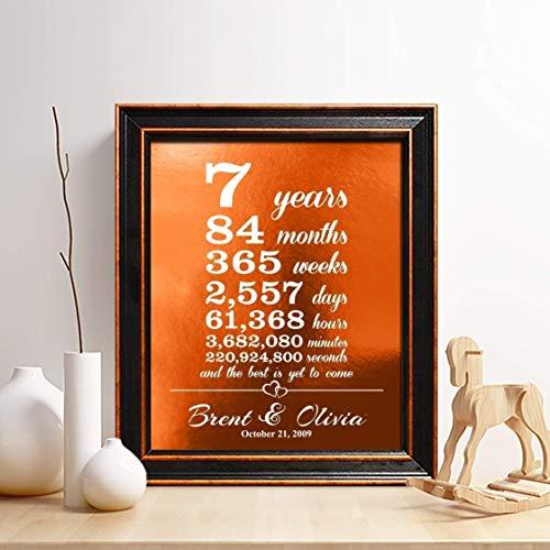 Personalized 7th Copper Anniversary Gift, Copper Foil Print