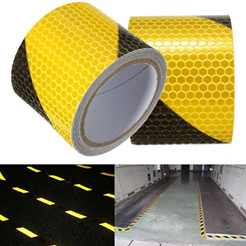 KING DO WAY 3M Schwarz mit Gelb Twill Reflektierende band Selbstklebende Sicherheit Warnung Conspicuity Nacht Reflektor Streifen Tape Film Aufkleber